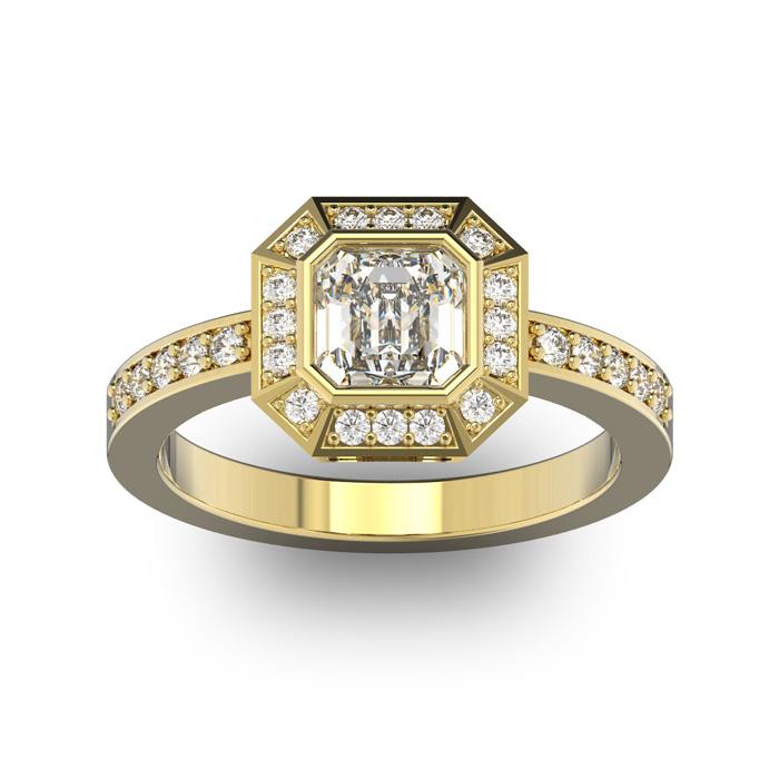 14K Yellow Gold (5.2 g) 1 1/3 Carat Asscher Cut Halo Diamond Enga