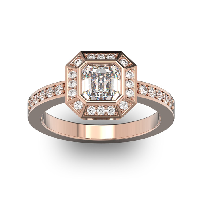 14K Rose Gold (5.2 g) 1 1/3 Carat Asscher Cut Halo Diamond Engage