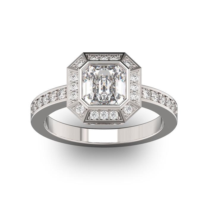 14K White Gold (5.3 g) 1 3/4 Carat Asscher Cut Halo Diamond Engag