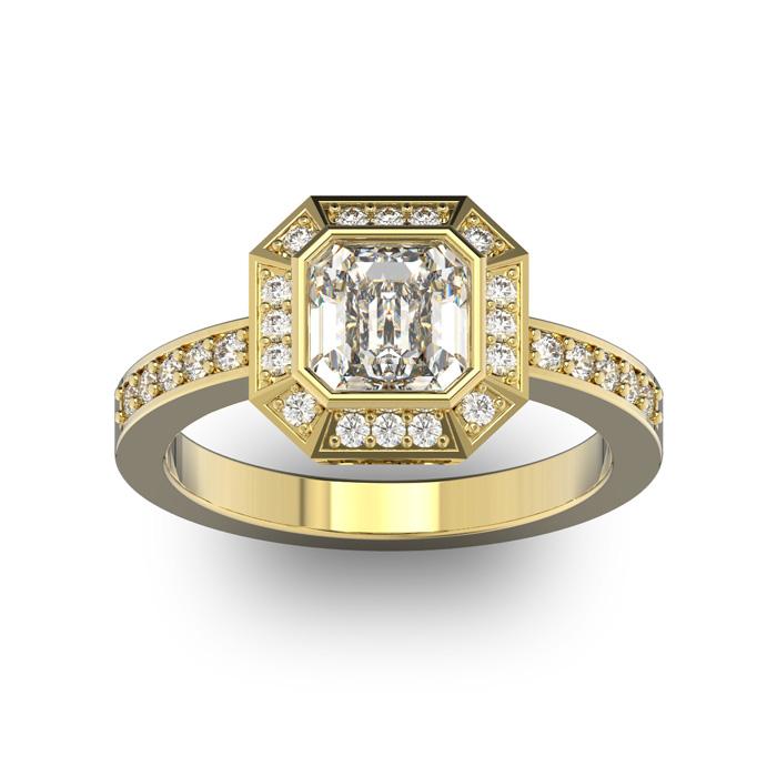 14K Yellow Gold (5.3 g) 1 3/4 Carat Asscher Cut Halo Diamond Enga