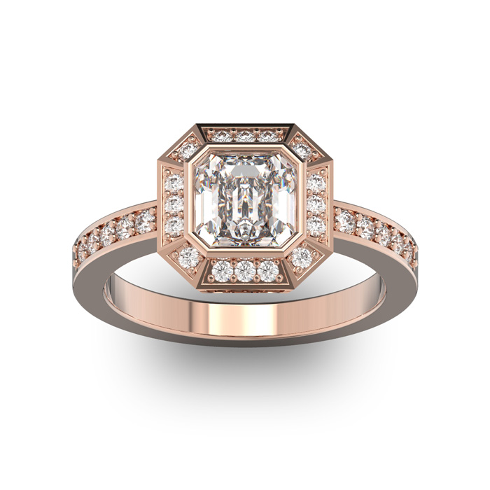 14K Rose Gold (5.3 g) 1 3/4 Carat Asscher Cut Halo Diamond Engage