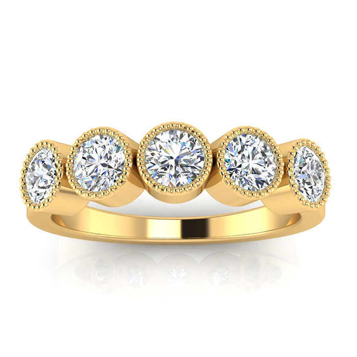 1 Carat Five Diamond Bezel Set Wedding Band in 14k YELLOW Gold, I/J by SuperJeweler