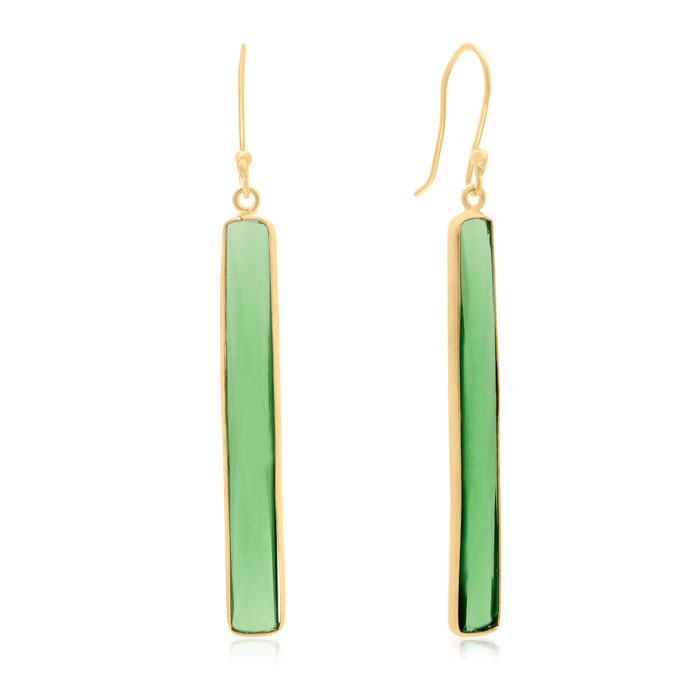 17 Carat Emerald Quartz Bar Earrings In14K Yellow Gold Over Sterl