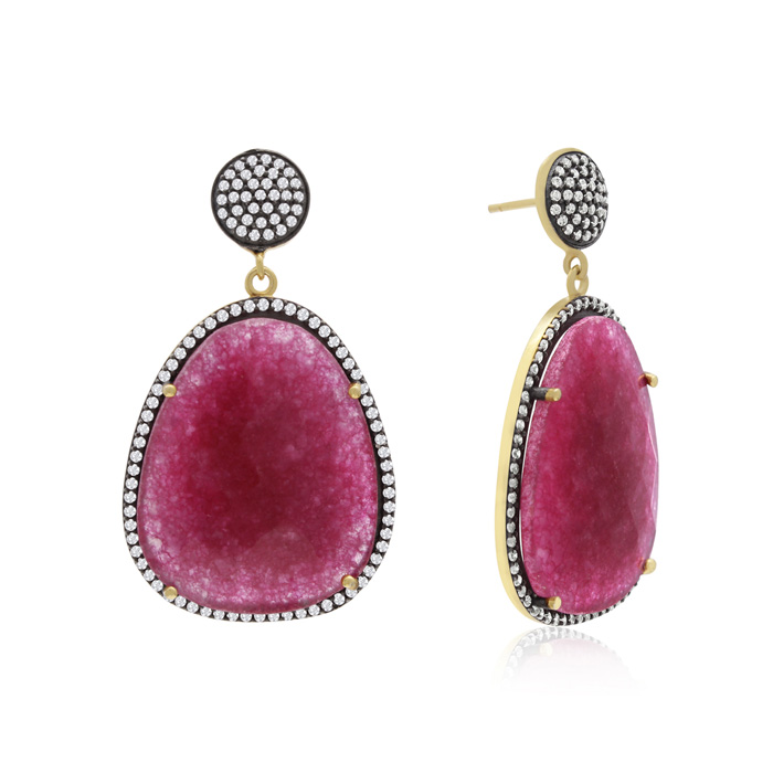 60 Carat Free Form Ruby & Crystal Dangle Earrings in 14K Yellow G