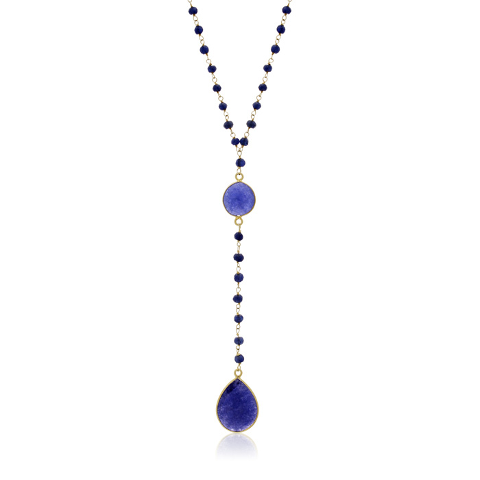 79 Carat Blue Sapphire Pear Shape Y Bar Strand Necklace in 14K Yellow Gold Over Sterling Silver, 36 Inches by Sundar Gem