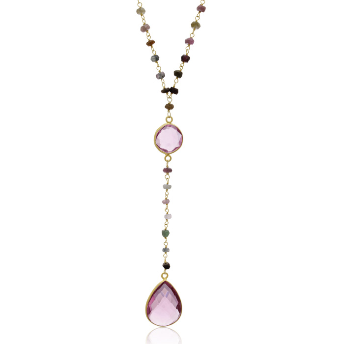 79 Carat Pink Tourmaline Pear Shape Y Bar Strand Necklace in 14K