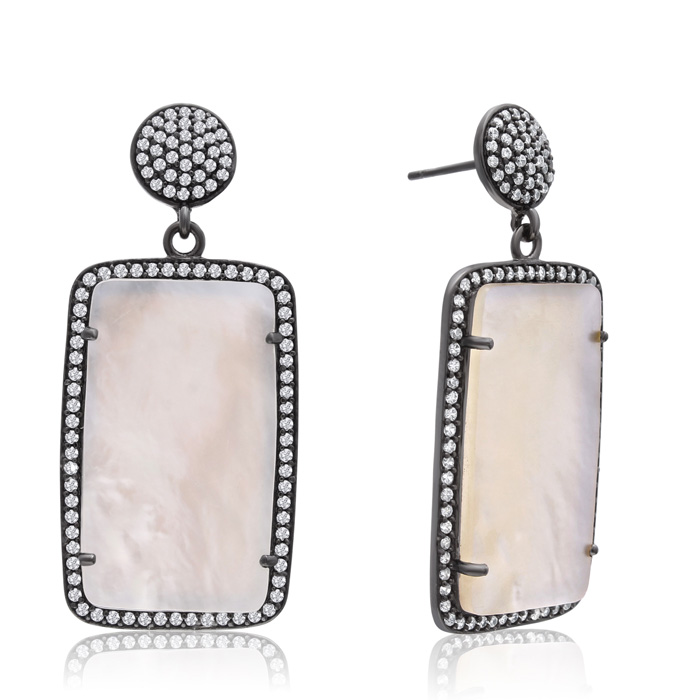 30 Carat Mother of Pearl & Crystal Dangle Earrings in 14K Yellow