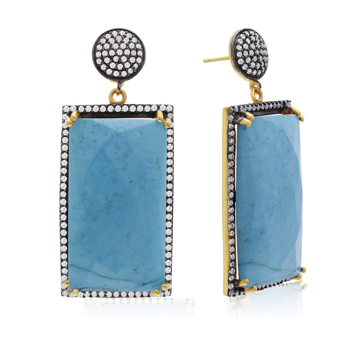 30 Carat Turquoise & Crystal Dangle Earrings in 14K Yellow Gold O