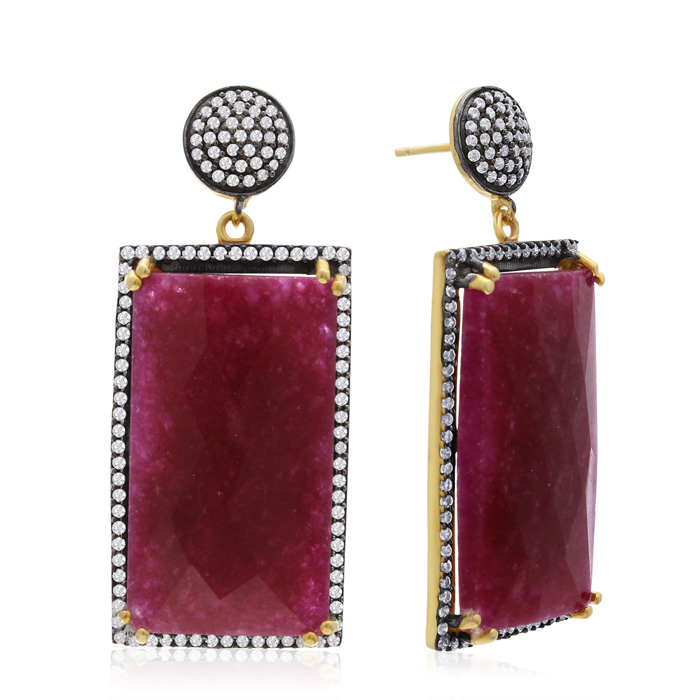 30 Carat Emerald Shape Ruby and Simulated Diamond Dangle Earrings In 14K Yellow Gold Over Sterling Silver