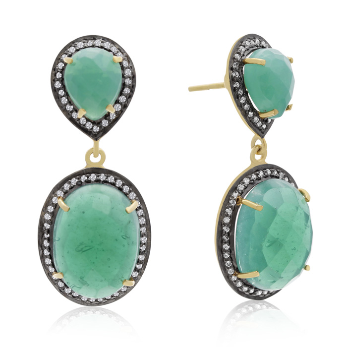 28 Carat Emerald & Crystal Drop Earrings in 14K Yellow Gold Over