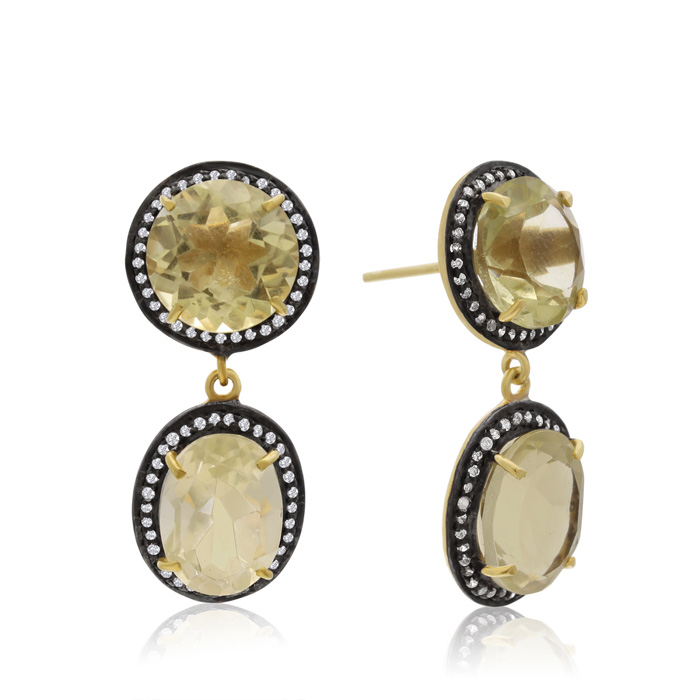 28 Carat Lemon Topaz and Simulated Diamond Drop Earrings In 14K Yellow Gold Over Sterling Silver