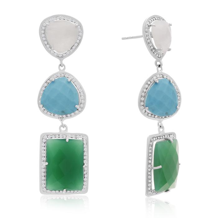 20 Carat Multi Gemstone Dangle Earrings In Sterling Silver ShopFest Money Saver