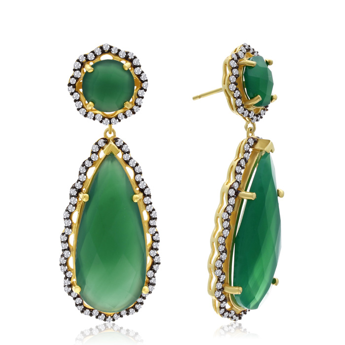 40 Carat Emerald & Crystal Teardrop Earrings in 14K Yellow Gold O