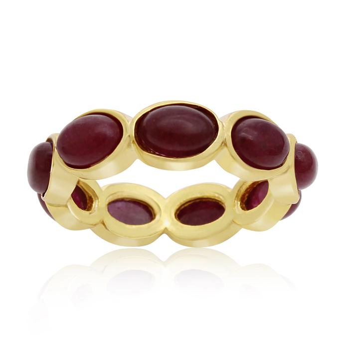 10 Carat Ruby Eternity Ring in 14K Yellow Gold Over Sterling Silver by Sundar Gem