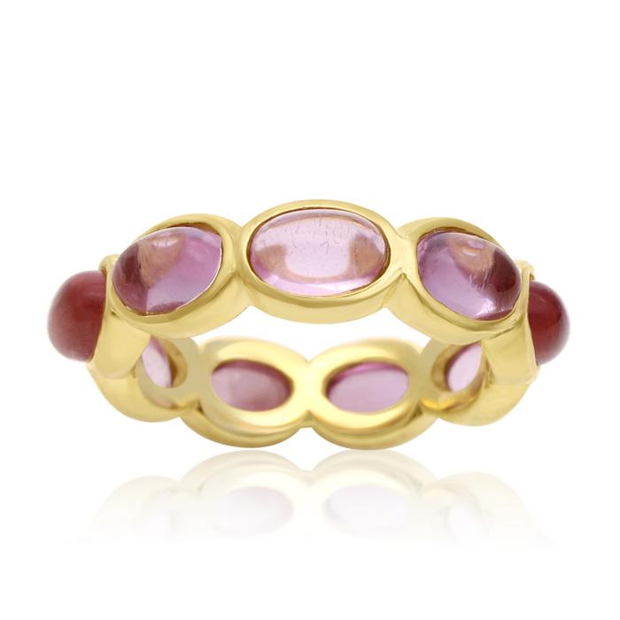 10 Carat Raspberry Quartz Eternity Ring in 14K Yellow Gold Over S