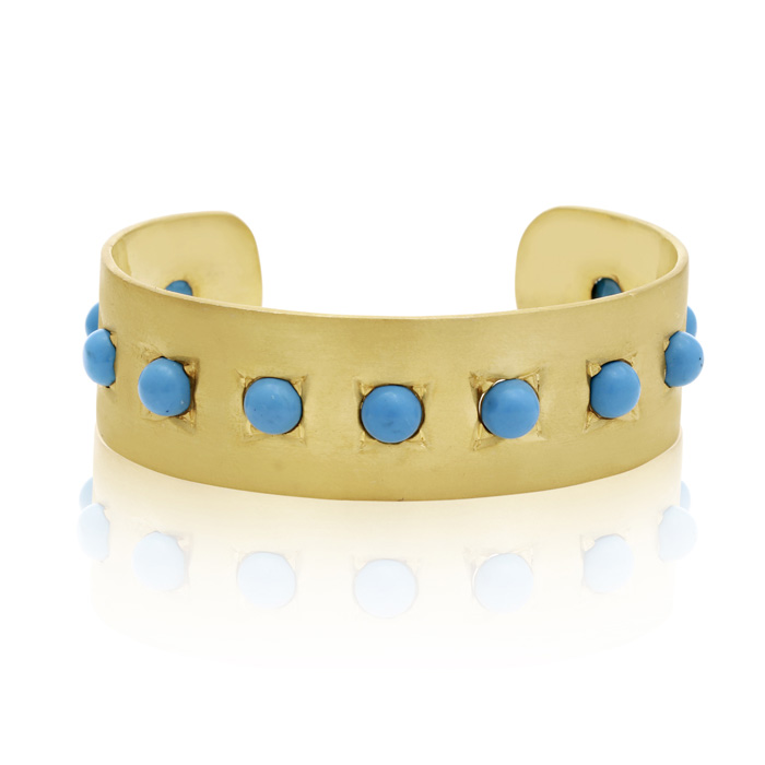 11 Carat Turquoise Cuff Bangle in 14K Yellow Gold Over Sterling S