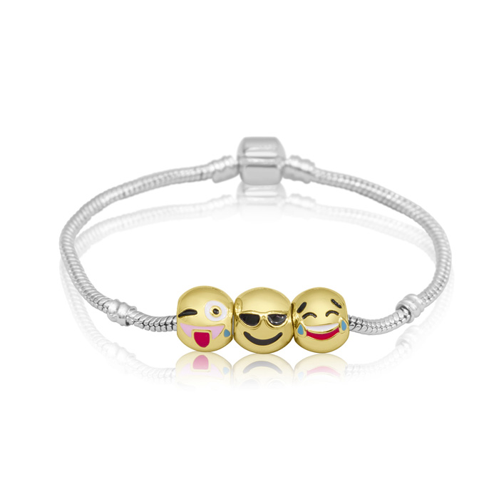18K Gold Plated Emoji Charm Bracelet, 3 Charms Total, 7 Inch by S
