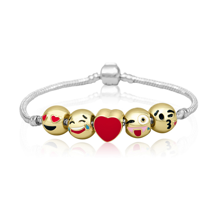 18K Gold Plated Emoji Charm Bracelet, 5 Charms Total, 7 Inch by S