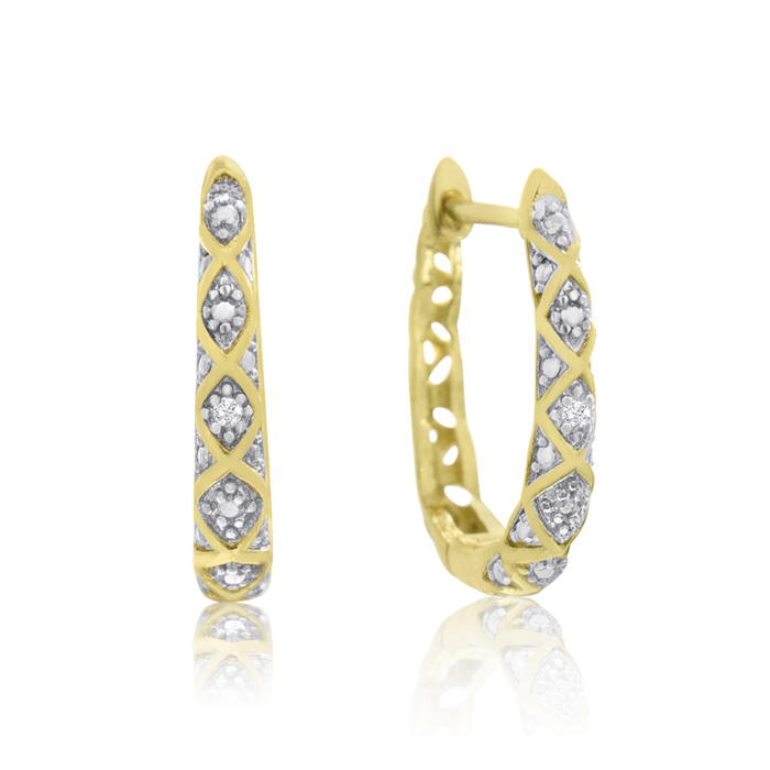 Delicate Diamond Hoop Earrings, Gold (2.4 g) Overlay, 3/4 Inch, J