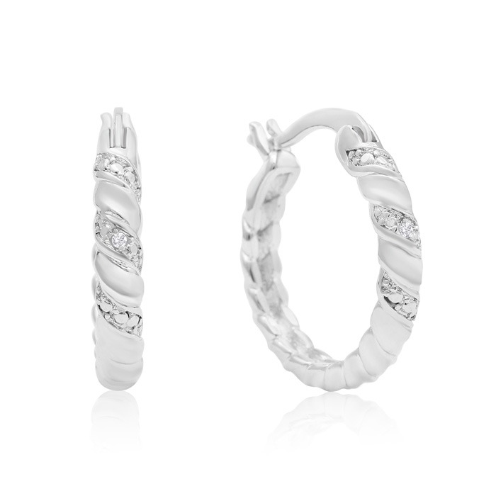 Elegant Swirl Diamond Hoop Earrings, Platinum Overlay, 3/4 Inch,