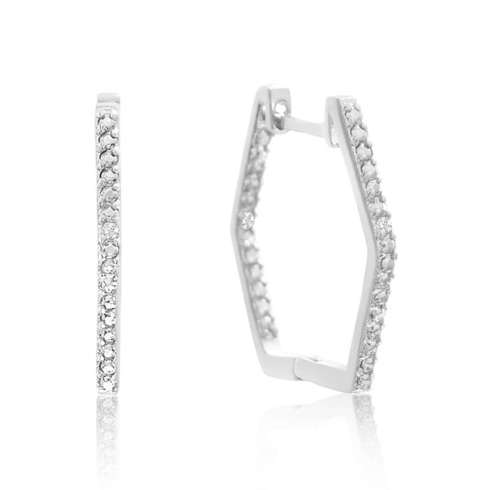 Stylish Diamond Hoop Earrings, Gold Overlay, 3/4 Inch, J/K by SuperJeweler