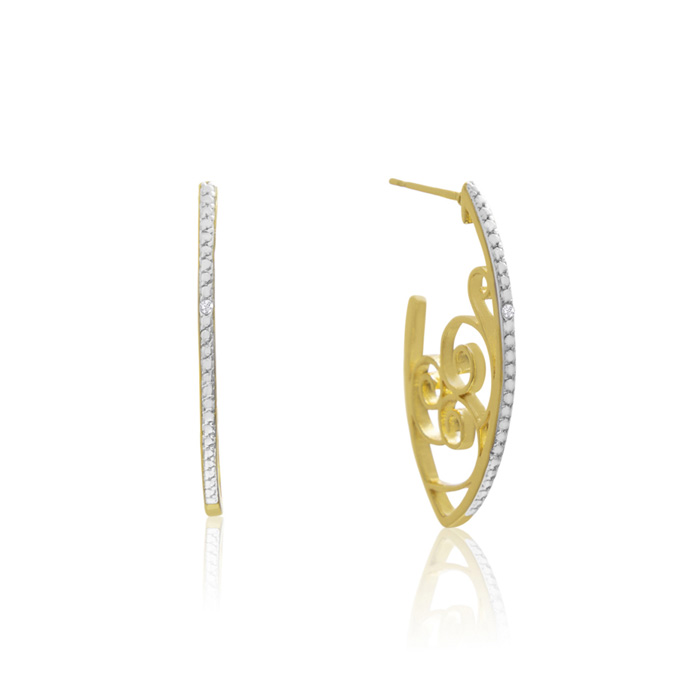Delicate Diamond Swirl Hoop Earrings, Gold Overlay, 1 Inch, J/K b