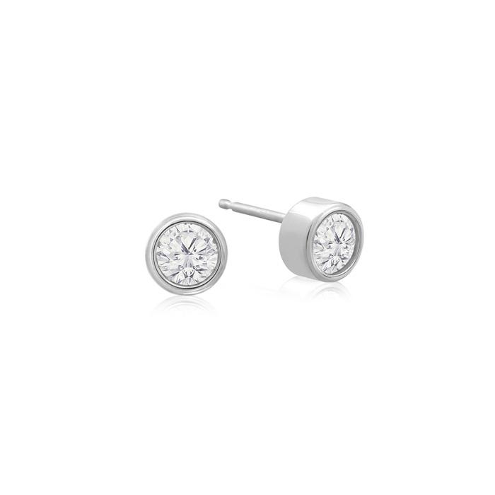 1/4 Carat Bezel Set Diamond Stud Earrings Crafted in 14K White Gold (0.6 g), H/I by SuperJeweler