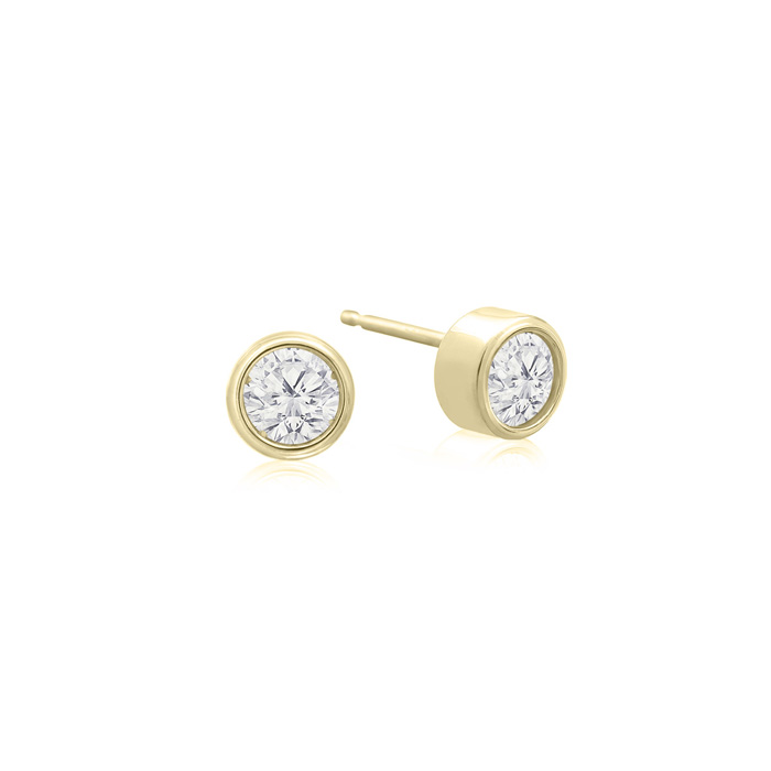 1/5 Carat Bezel Set Diamond Stud Earrings Crafted in 14K Yellow G
