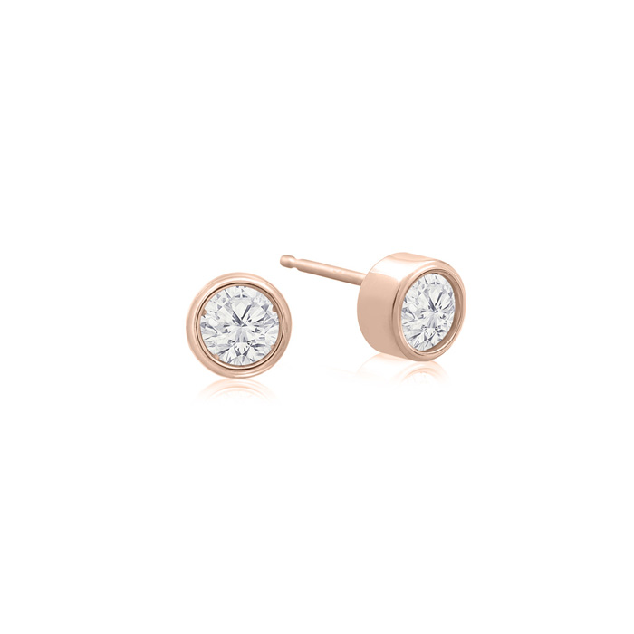 1/5 Carat Bezel Set Diamond Stud Earrings Crafted in 14K Rose Gold (0.6 g), H/I by SuperJeweler