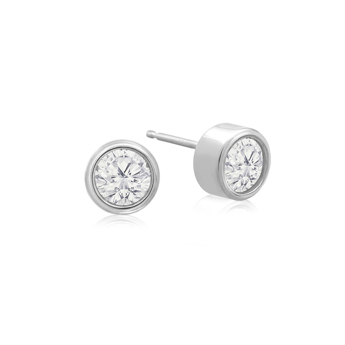 1/3 Carat Bezel Set Diamond Stud Earrings Crafted in 14K White Gold (0.8 g), H/I by SuperJeweler