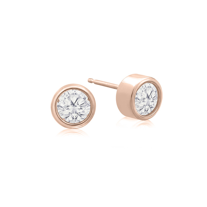 1/3 Carat Bezel Set Diamond Stud Earrings Crafted in 14K Rose Gol