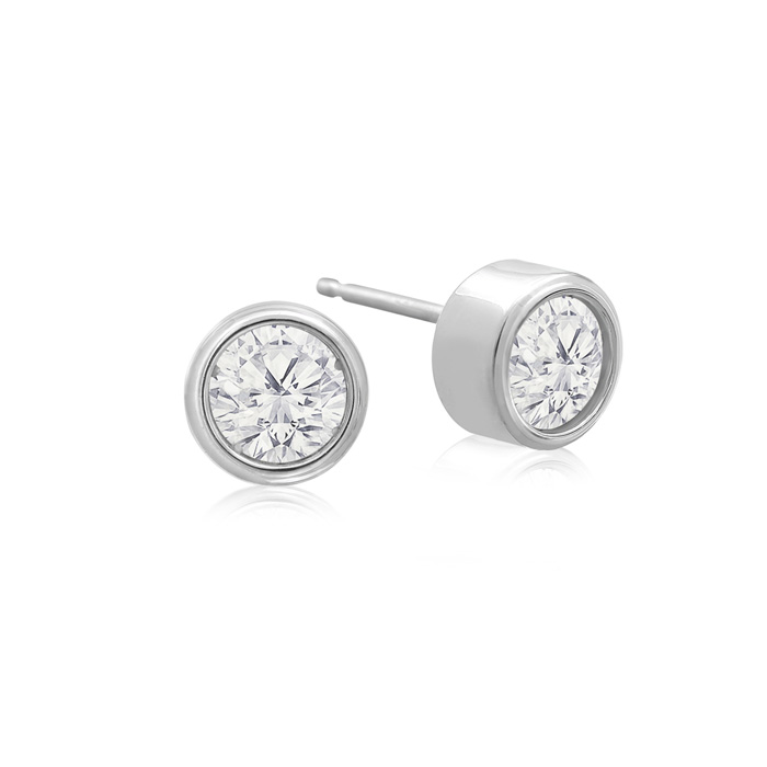 1/2 Carat Bezel Set Diamond Stud Earrings Crafted in 14K White Go