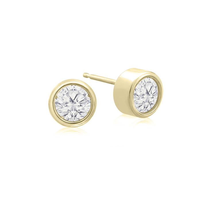 1/2 Carat Bezel Set Diamond Stud Earrings Crafted in 14K Yellow G