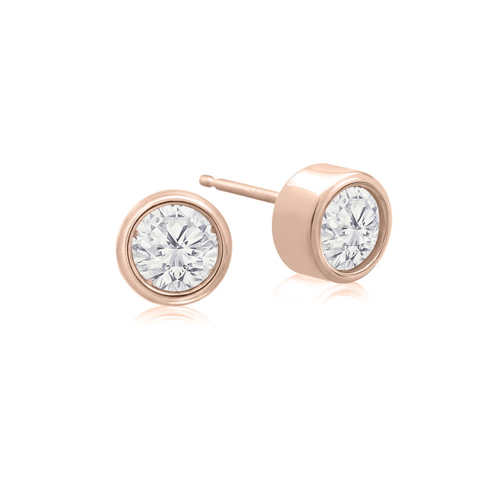 1/2 Carat Bezel Set Diamond Stud Earrings Crafted in 14K Rose Gol