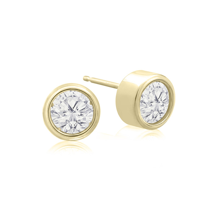 3/4 Carat Bezel Set Diamond Stud Earrings Crafted in 14K Yellow G