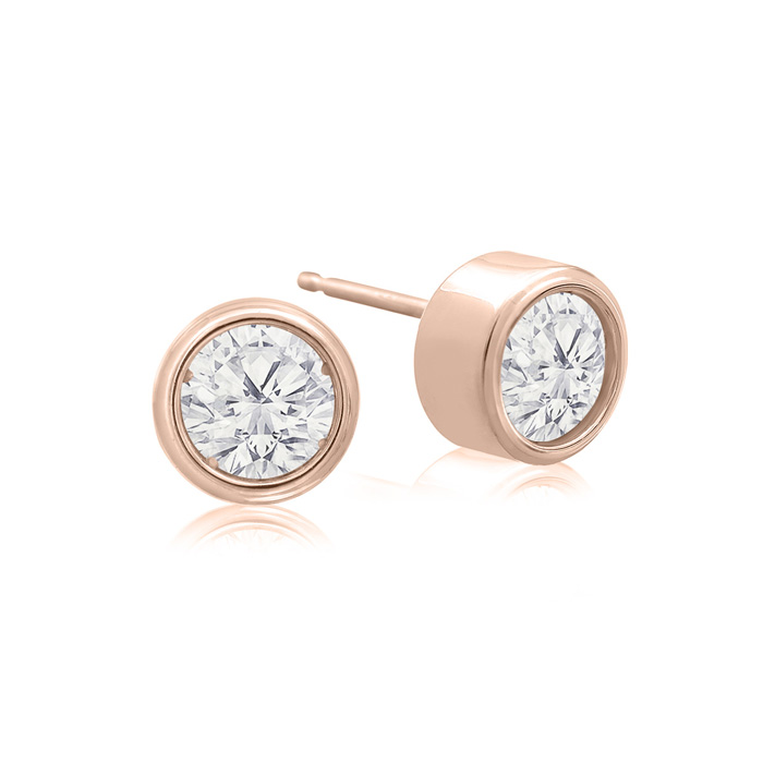 3/4 Carat Bezel Set Diamond Stud Earrings Crafted in 14K Rose Gol