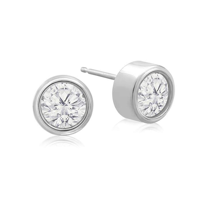 1 Carat Bezel Set Diamond Stud Earrings Crafted in 14K White Gold