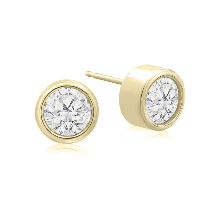 1 Carat Bezel Set Diamond Stud Earrings Crafted in 14K Yellow Gol