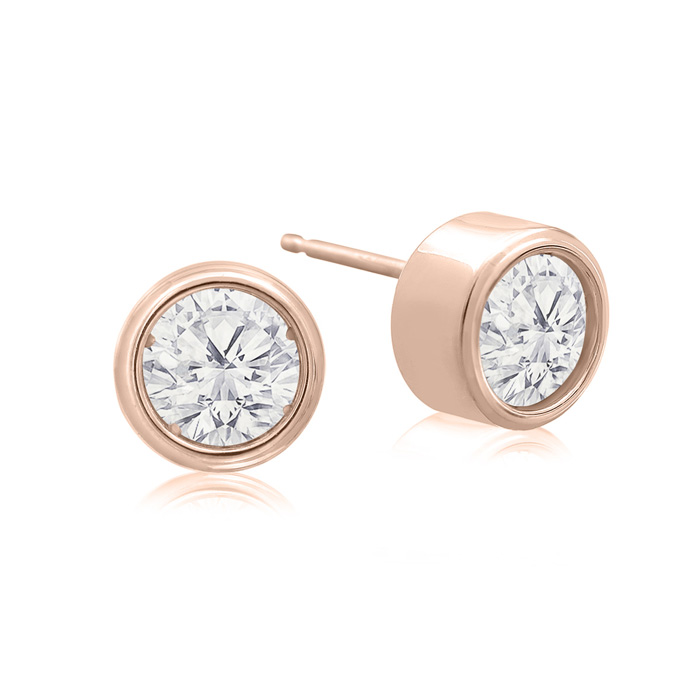 1 Carat Bezel Set Diamond Stud Earrings Crafted in 14K Rose Gold