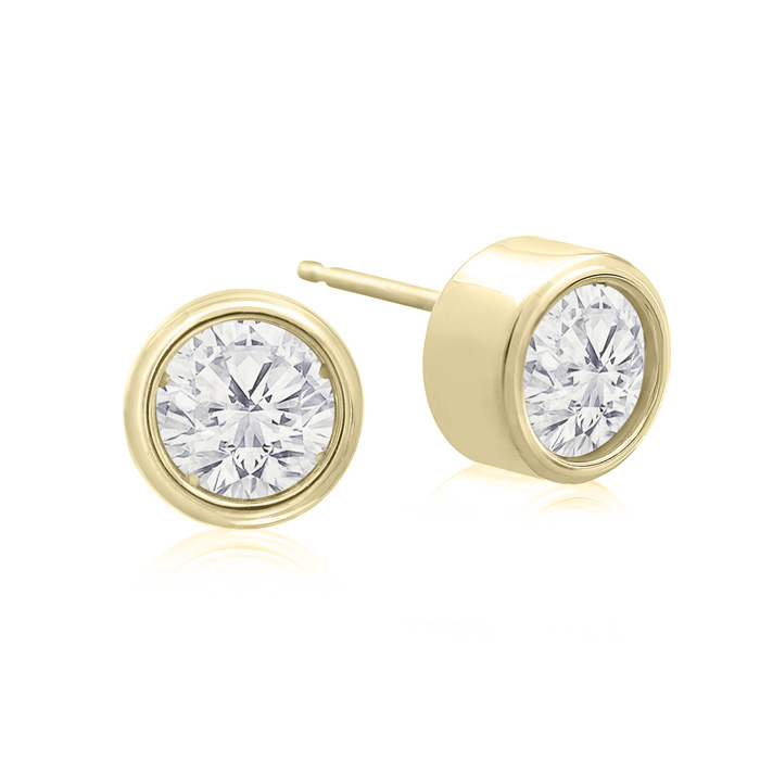 1 1/3 Carat Bezel Set Diamond Stud Earrings Crafted in 14K Yellow