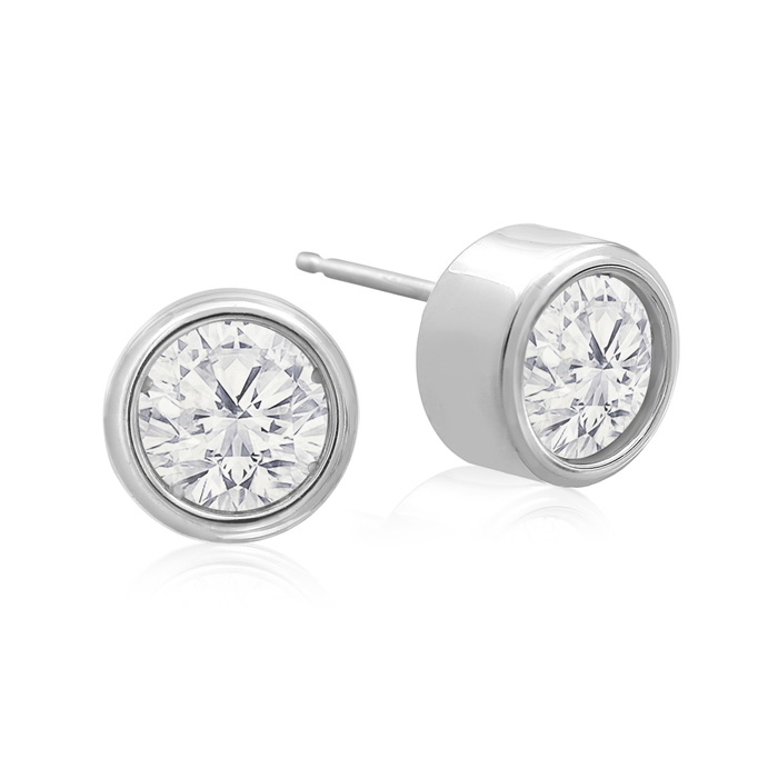 1.5 Carat Bezel Set Diamond Stud Earrings Crafted in 14K White Go