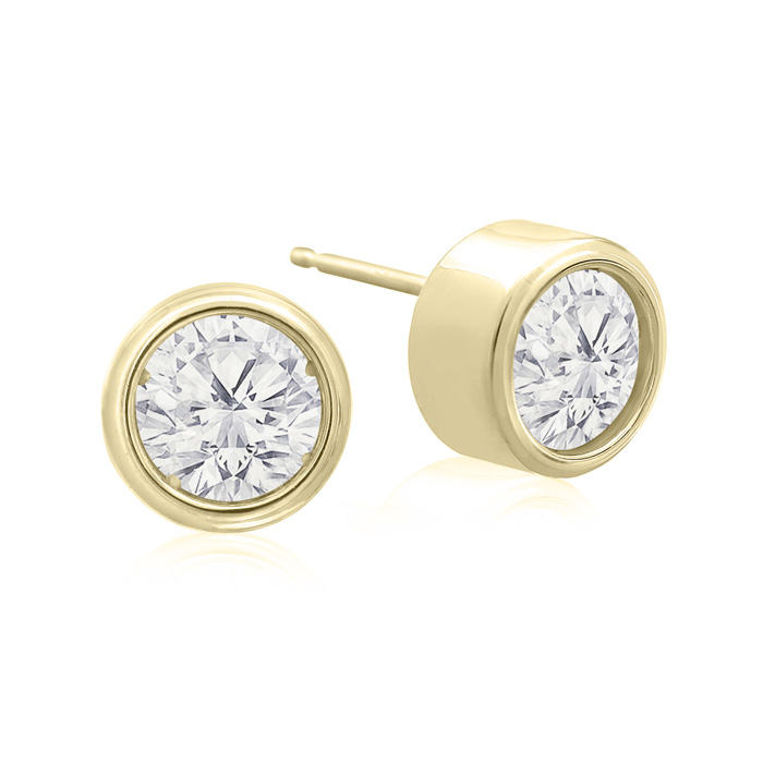 1.5 Carat Bezel Set Diamond Stud Earrings Crafted in 14K Yellow G