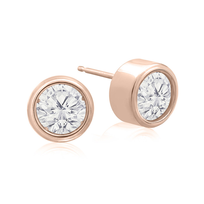 1.5 Carat Bezel Set Diamond Stud Earrings Crafted in 14K Rose Gol