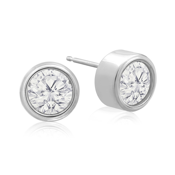 2 Carat Bezel Set Diamond Stud Earrings Crafted in 14K White Gold