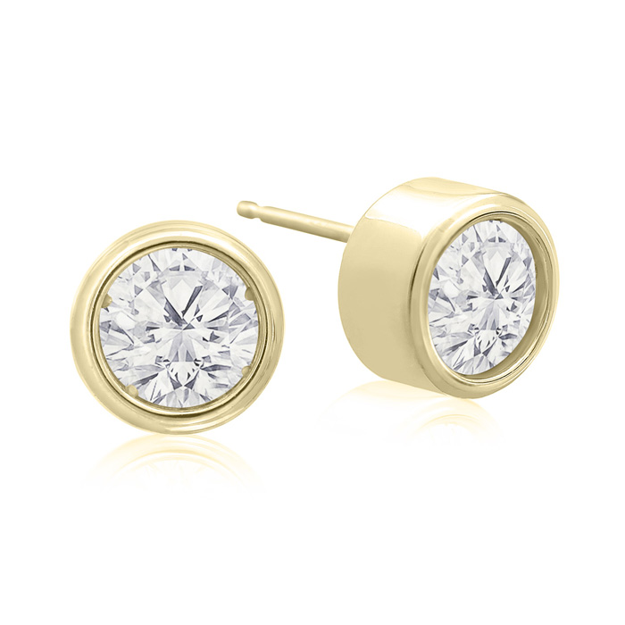 2 Carat Bezel Set Diamond Stud Earrings Crafted in 14K Yellow Gol