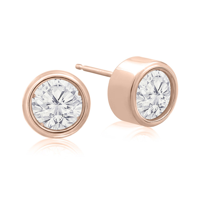 2 Carat Bezel Set Diamond Stud Earrings Crafted in 14K Rose Gold (2.4 g), H/I by SuperJeweler