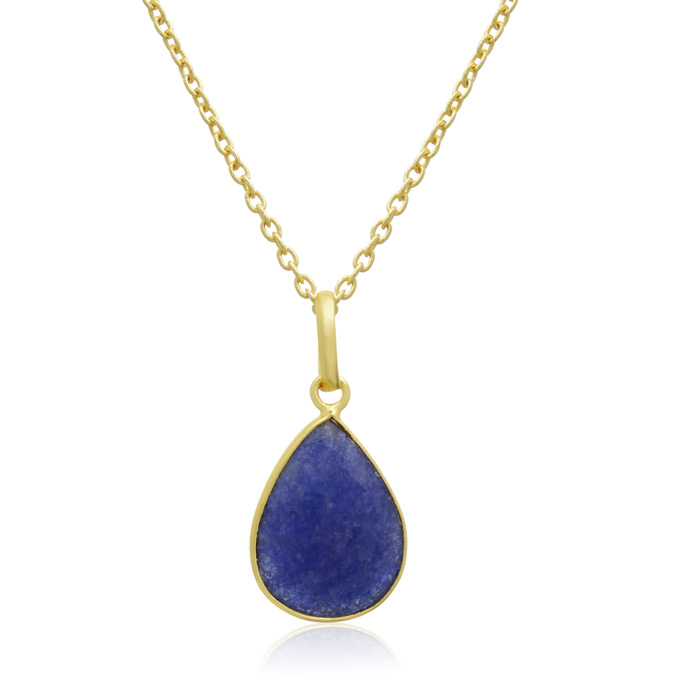 10 Carat Sapphire Pear Shape Necklace in 18K Gold Overlay, Free C