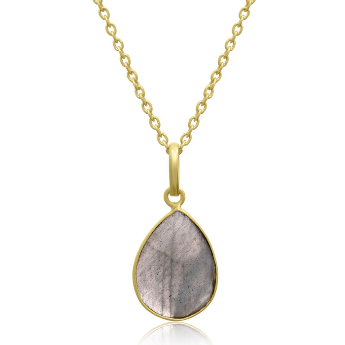 10 Carat Labradorite Pear Shape Necklace in 18K Gold Overlay, Fre