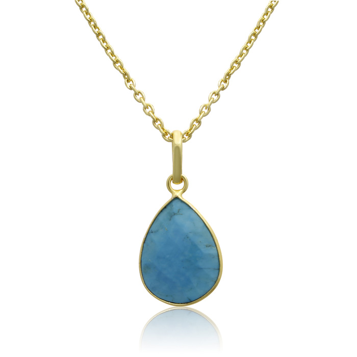 10 Carat Turquoise Pear Shape Necklace in 18K Gold Overlay, Free