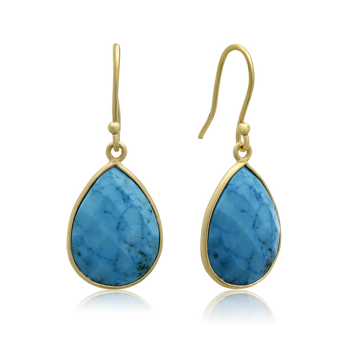 12 Carat Turquoise Pear Shape Earrings in 18K Gold Overlay by Sup